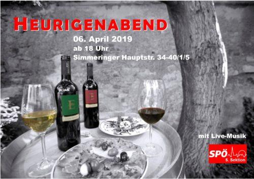 Einladung zum Heurigenabend am 6. April, ab 18Uhr im Sektionslokal