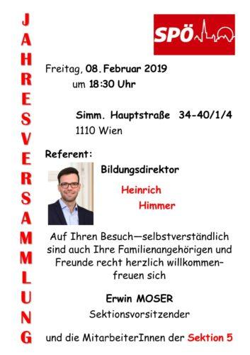 Jahresversammlung, am 8. Februar um 18:30Uhr mit Referent Heinrich Zimmer im Sektionslokal